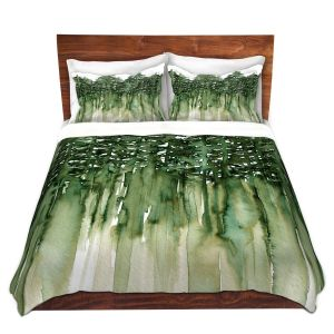 Artistic Duvet Covers and Shams Bedding | Julia Di Sano - Forest Trees Green