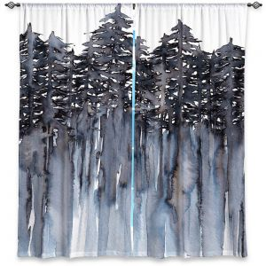 Unique Window Curtain Unlined 80w x 52h from DiaNoche Designs by Julia Di Sano - Forest Trees Grey