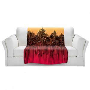Artistic Sherpa Pile Blankets   Julia Di Sano - Forest Trees Hot PInk Tangerine