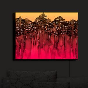 Nightlight Sconce Canvas Light   Julia Di Sano - Forest Trees Hot PInk Tangerine   Abstract Painting