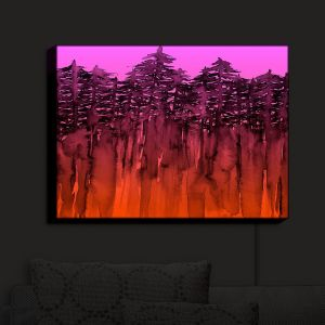 Nightlight Sconce Canvas Light | Julia Di Sano - Forest Trees Neon Orange Pink | Abstract Painting