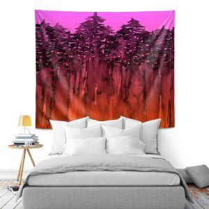Artistic Wall Tapestry   Julia Di Sano - Forest Trees Neon Orange Pink