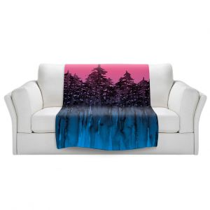 Artistic Sherpa Pile Blankets   Julia Di Sano - Forest Trees Pink Blue