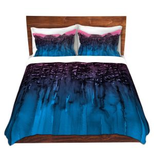 Artistic Duvet Covers and Shams Bedding | Julia Di Sano - Forest Trees Pink Blue