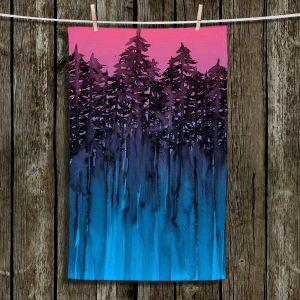 Unique Bathroom Towels | Julia Di Sano - Forest Trees Pink Blue