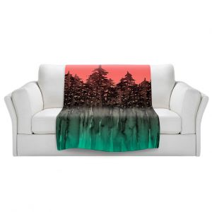 Artistic Sherpa Pile Blankets   Julia Di Sano - Forest Trees Pink Green
