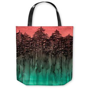 Unique Shoulder Bag Tote Bags | Julia Di Sano - Forest Trees Pink Green