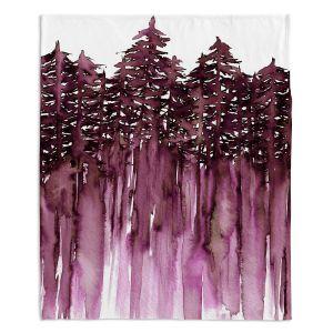 Decorative Fleece Throw Blankets | Julia Di Sano - Forest Trees Purple