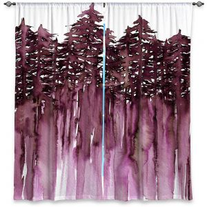 Decorative Window Treatments | Julia Di Sano - Forest Trees Purple