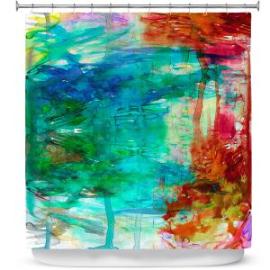 Unique Shower Curtains 71w x 74h Inches from DiaNoche Designs by Julia Di Sano  - Free Wheeling