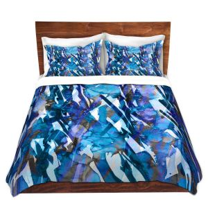 Artistic Duvet Covers and Shams Bedding | Julia Di Sano - Frosty Bouquet Blue