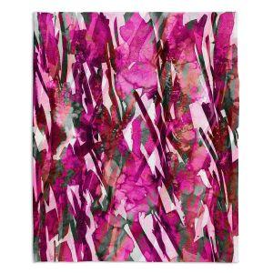 Decorative Fleece Throw Blankets | Julia Di Sano - Frosty Bouquet Pink