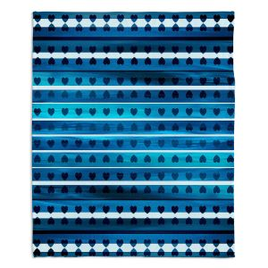 Decorative Fleece Throw Blankets | Julia Di Sano - Heart Love Blue | Pattern stripes shapes