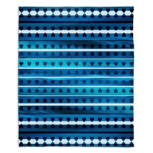 Decorative Fleece Throw Blankets | Julia Di Sano - Heart Love Blue | Pattern stripes shapes