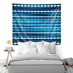 Artistic Wall Tapestry   Julia Di Sano - Heart Love Blue   Pattern stripes shapes