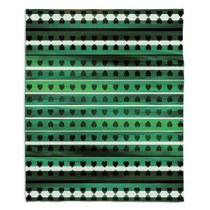 Decorative Fleece Throw Blankets | Julia Di Sano - Heart Love Midnight Jade | Pattern stripes shapes