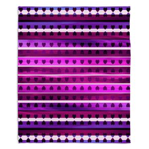 Decorative Fleece Throw Blankets | Julia Di Sano - Heart Love Purple | Pattern stripes shapes