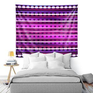 Artistic Wall Tapestry | Julia Di Sano - Heart Love Purple | Pattern stripes shapes