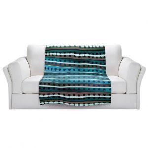 Artistic Sherpa Pile Blankets   Julia Di Sano - Heart Love Teal twist   Pattern stripes shapes