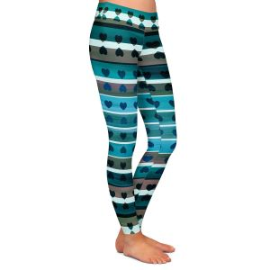 Casual Comfortable Leggings | Julia Di Sano - Heart Love Teal twist | Pattern stripes shapes