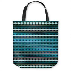 Unique Shoulder Bag Tote Bags | Julia Di Sano - Heart Love Teal twist | Pattern stripes shapes