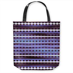 Unique Shoulder Bag Tote Bags   Julia Di Sano - Heart Love Violet   Pattern stripes shapes
