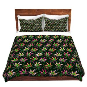 Artistic Duvet Covers and Shams Bedding   Julia Di Sano - Hippie Flowers 10   Marijuana Pot Smoking Cannabis