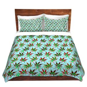 Artistic Duvet Covers and Shams Bedding   Julia Di Sano - Hippie Flowers 3   Marijuana Pot Smoking Cannabis