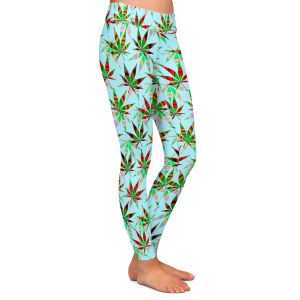 Casual Comfortable Leggings | Julia Di Sano - Hippie Flowers 3 | Marijuana Pot Smoking Cannabis