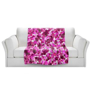 Artistic Sherpa Pile Blankets   Julia Di Sano - In The Wild Fuschia   abstract pattern petals floral
