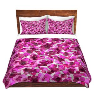 Artistic Duvet Covers and Shams Bedding | Julia Di Sano - In The Wild Fuschia | abstract pattern petals floral