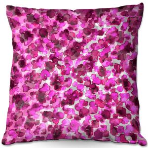 Decorative Outdoor Patio Pillow Cushion | Julia Di Sano - In The Wild Fuschia | abstract pattern petals floral