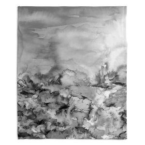 Decorative Fleece Throw Blankets | Julia Di Sano - Into Eternity Greyscale
