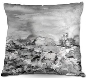 Decorative Outdoor Patio Pillow Cushion | Julia Di Sano - Into Eternity Greyscale