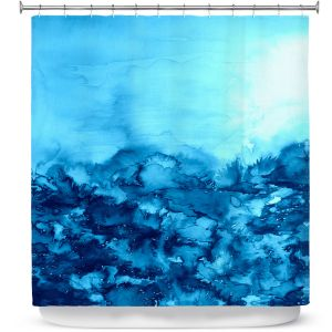 Premium Shower Curtains | Julia DiSano Into the Eye Turquoise