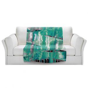 Artistic Sherpa Pile Blankets   Julia Di Sano - Inversion Aqua   lines abstract pattern