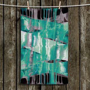 Unique Hanging Tea Towels | Julia Di Sano - Inversion Aqua | lines abstract pattern