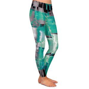 Casual Comfortable Leggings | Julia Di Sano - Inversion Aqua | lines abstract pattern