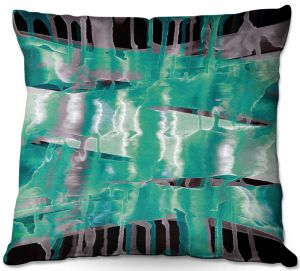 Throw Pillows Decorative Artistic | Julia Di Sano - Inversion Aqua | lines abstract pattern