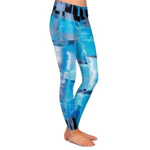 Casual Comfortable Leggings | Julia Di Sano - Inversion Blue | lines abstract pattern