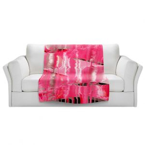 Artistic Sherpa Pile Blankets | Julia Di Sano - Inversion Hot Pink | lines abstract pattern