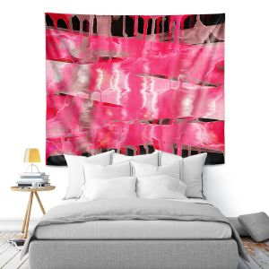 Artistic Wall Tapestry | Julia Di Sano - Inversion Hot Pink | lines abstract pattern
