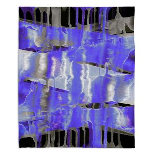 Decorative Fleece Throw Blankets | Julia Di Sano - Inversion Purple | lines abstract pattern