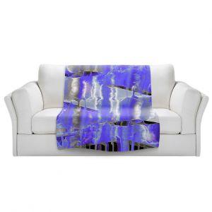 Artistic Sherpa Pile Blankets   Julia Di Sano - Inversion Purple   lines abstract pattern