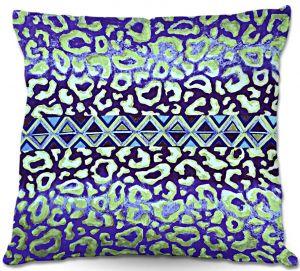 Decorative Outdoor Patio Pillow Cushion | Julia Di Sano - Leopard Trail Blue