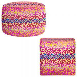 Round and Square Ottoman Foot Stools | Julia Di Sano - Leopard Trail Pink