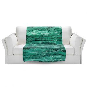 Unique Sherpa Blankets from DiaNoche Designs by Julia Di Sano - Marble Idea Mint Emerald Green