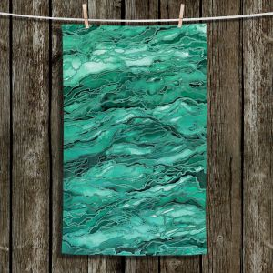 Unique Hanging Tea Towels | Julia Di Sano - Marble Idea Mint Emerald Green | Abstract Painting