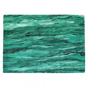 Decorative Kitchen Placemats 18x13 from DiaNoche Designs by Julia Di Sano - Marble Idea Mint Emerald Green