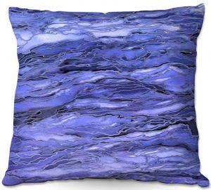 Decorative Outdoor Patio Pillow Cushion | Julia Di Sano - Marble Idea Periwinkle Blue Grey